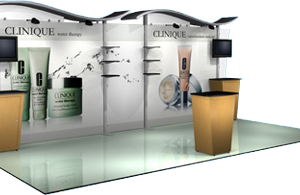 Trade show display with backwall and custom graphics