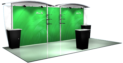 Trade show display with custom graphics and backwall