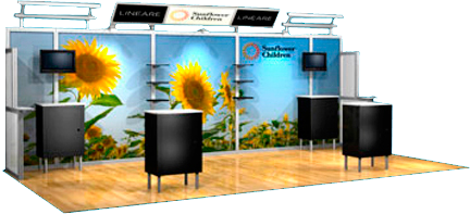 Trade show display with backwall and lights